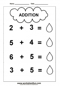 Addition Worksheet for Kindergartners