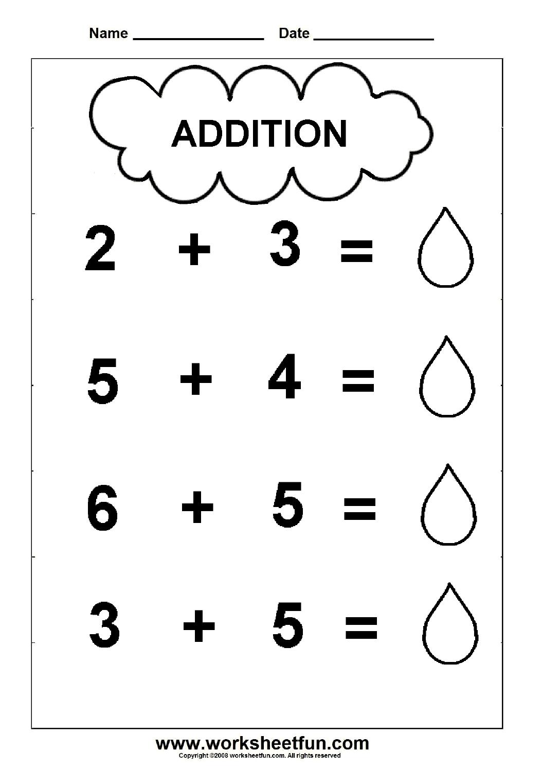 Addition Worksheet for Kindergartners