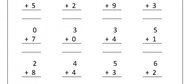 Kindergarten Addition Math Practice Worksheet