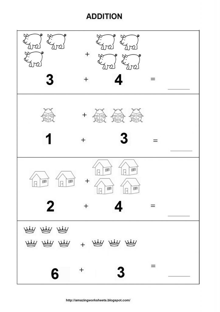 kindergarten math addition practice worksheet. Black Bedroom Furniture Sets. Home Design Ideas