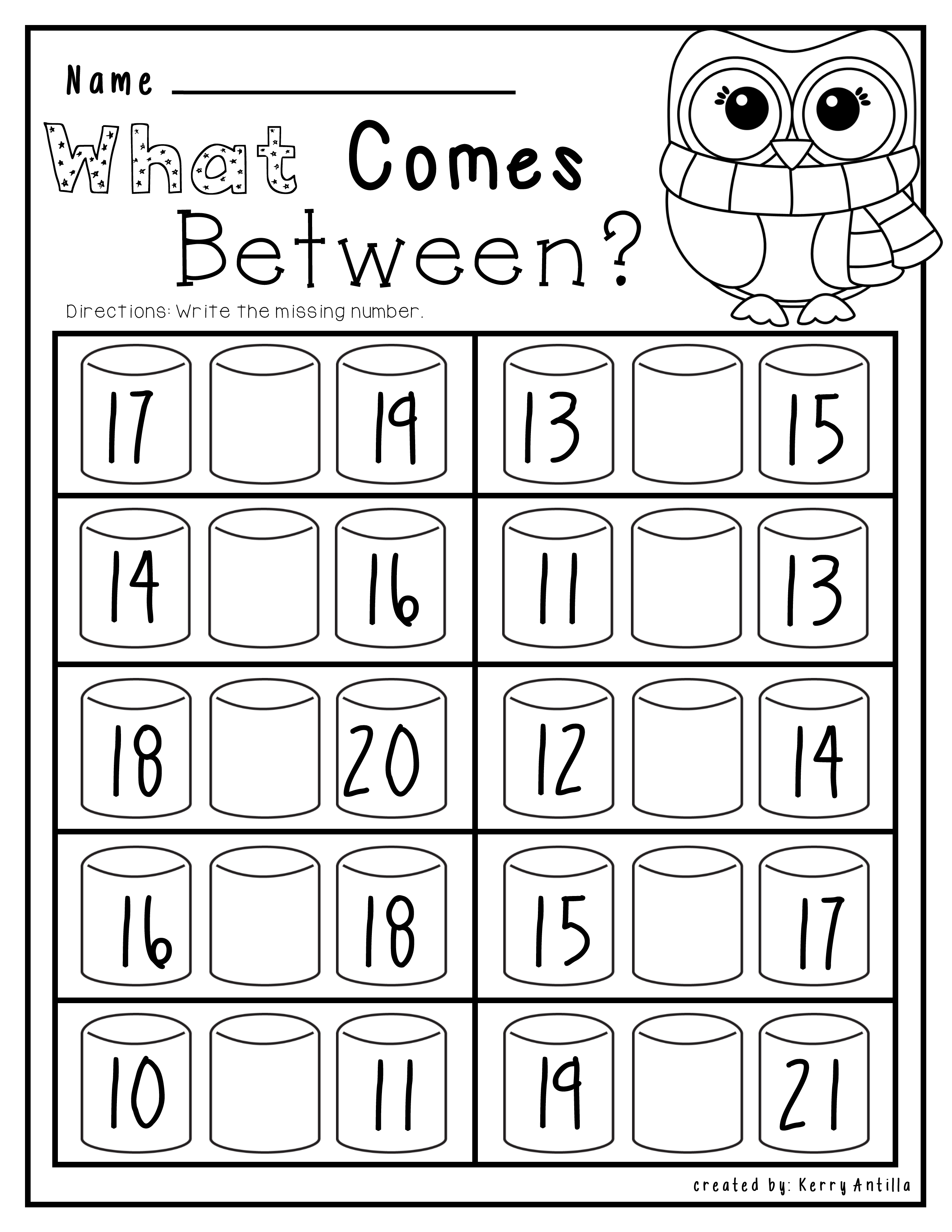 kindergarten numbers between worksheet. Black Bedroom Furniture Sets. Home Design Ideas