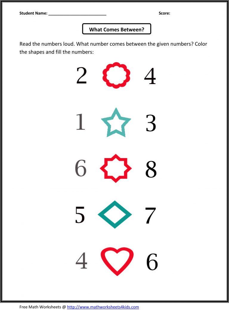 Learning Numbers Kindergarten Practice Worksheet