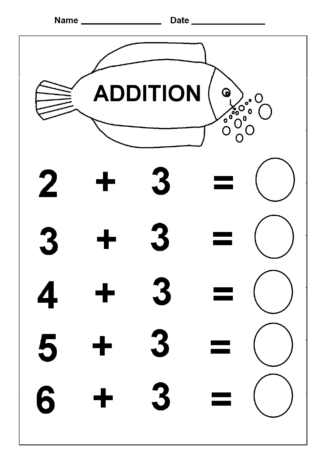 Simple Addition Kindergarten Math Worksheets