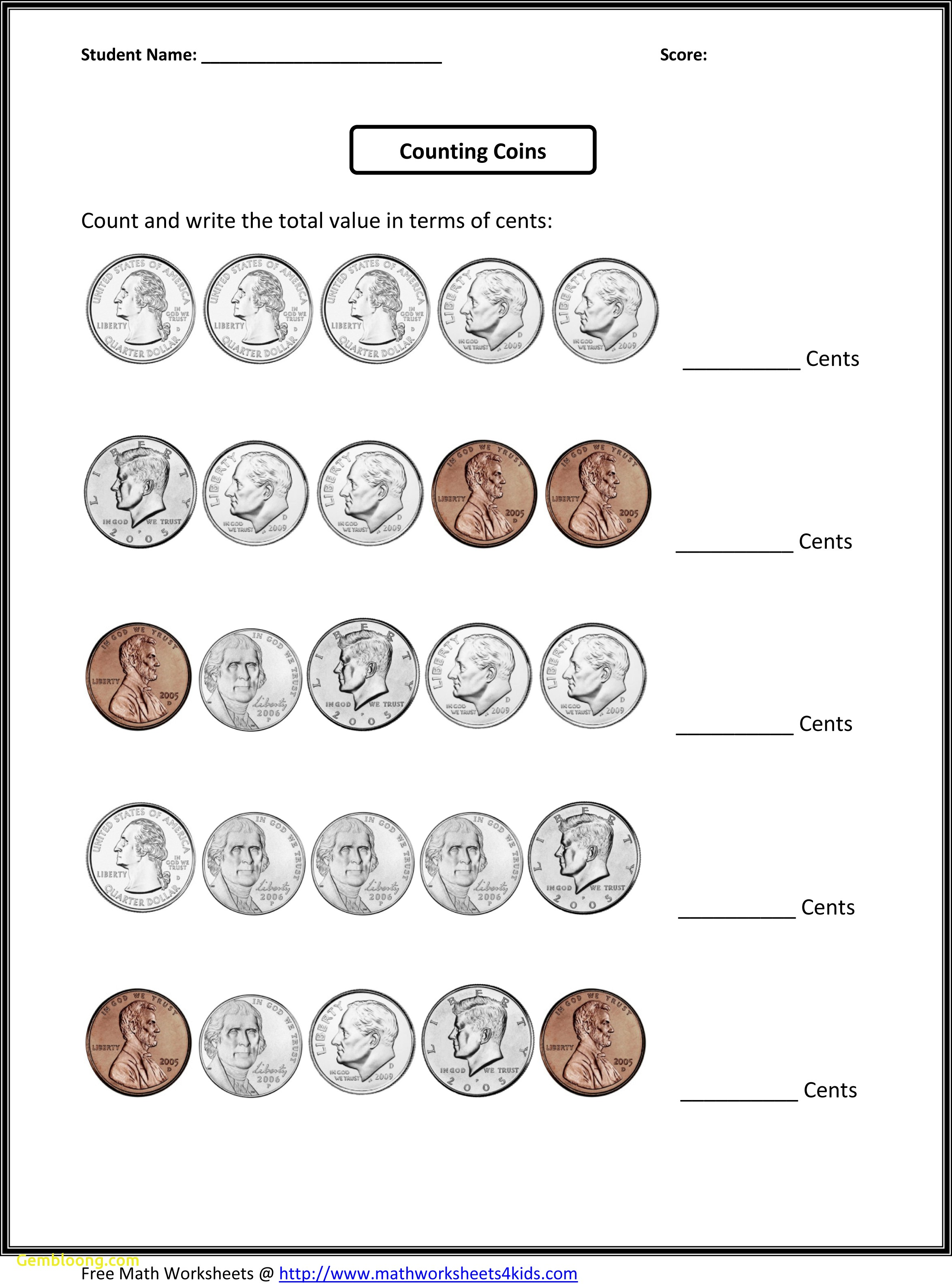 4th Grade Math Printable Worksheets Counting Coins