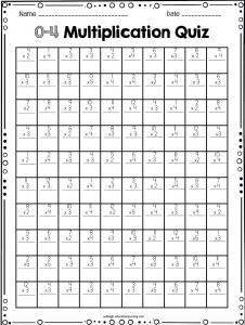 4th Grade Multiplication Quiz