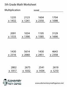 5th Grade Math Worksheet Multiplication