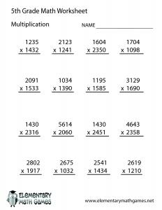 5th Grade Math Worksheet Multiplication