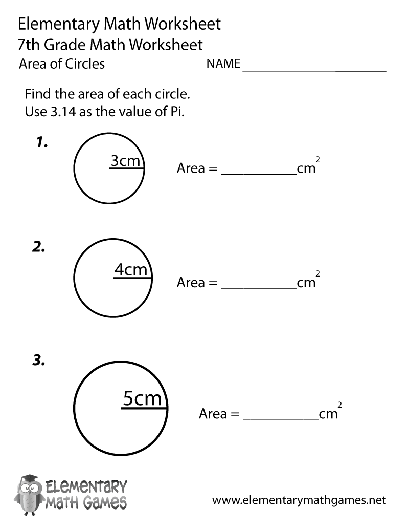7th Grade Area of Circles Worksheet Printable