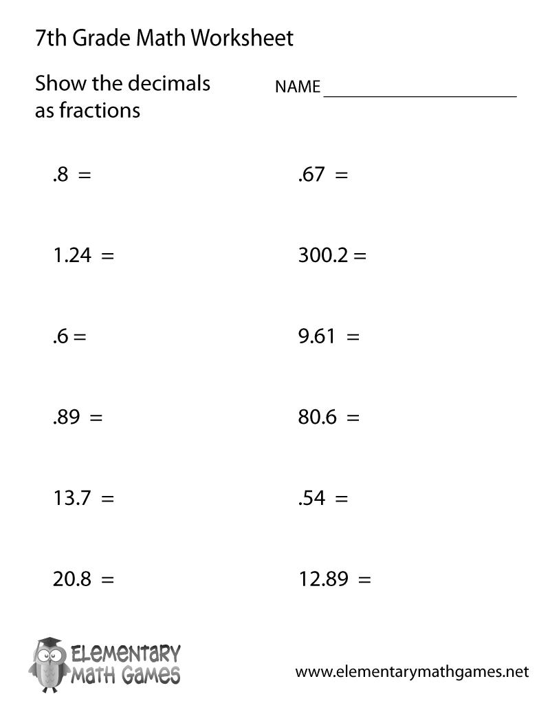 7th Grade Decimals Worksheet Printable