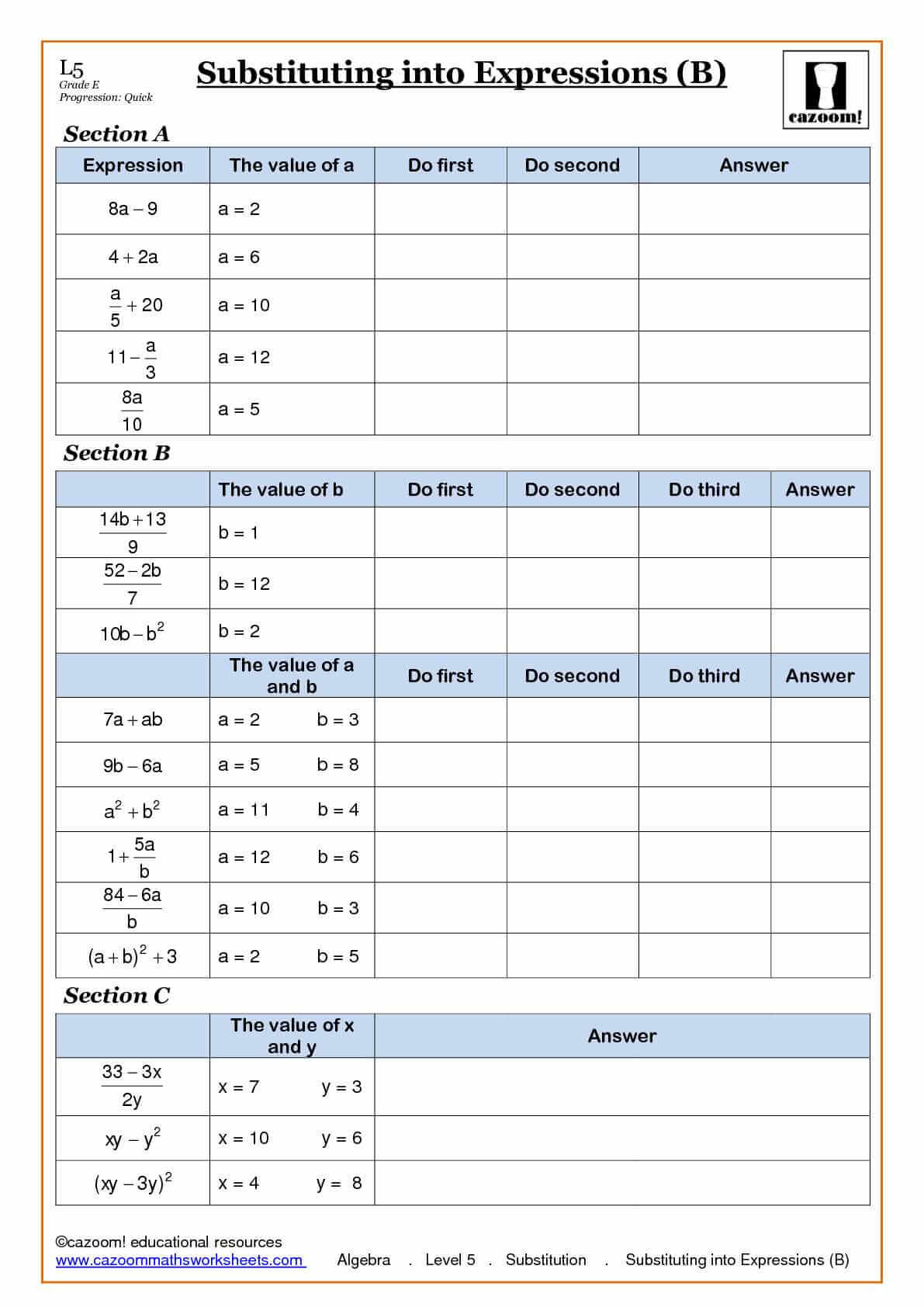 Algebra Substitution into Expressions Worksheet