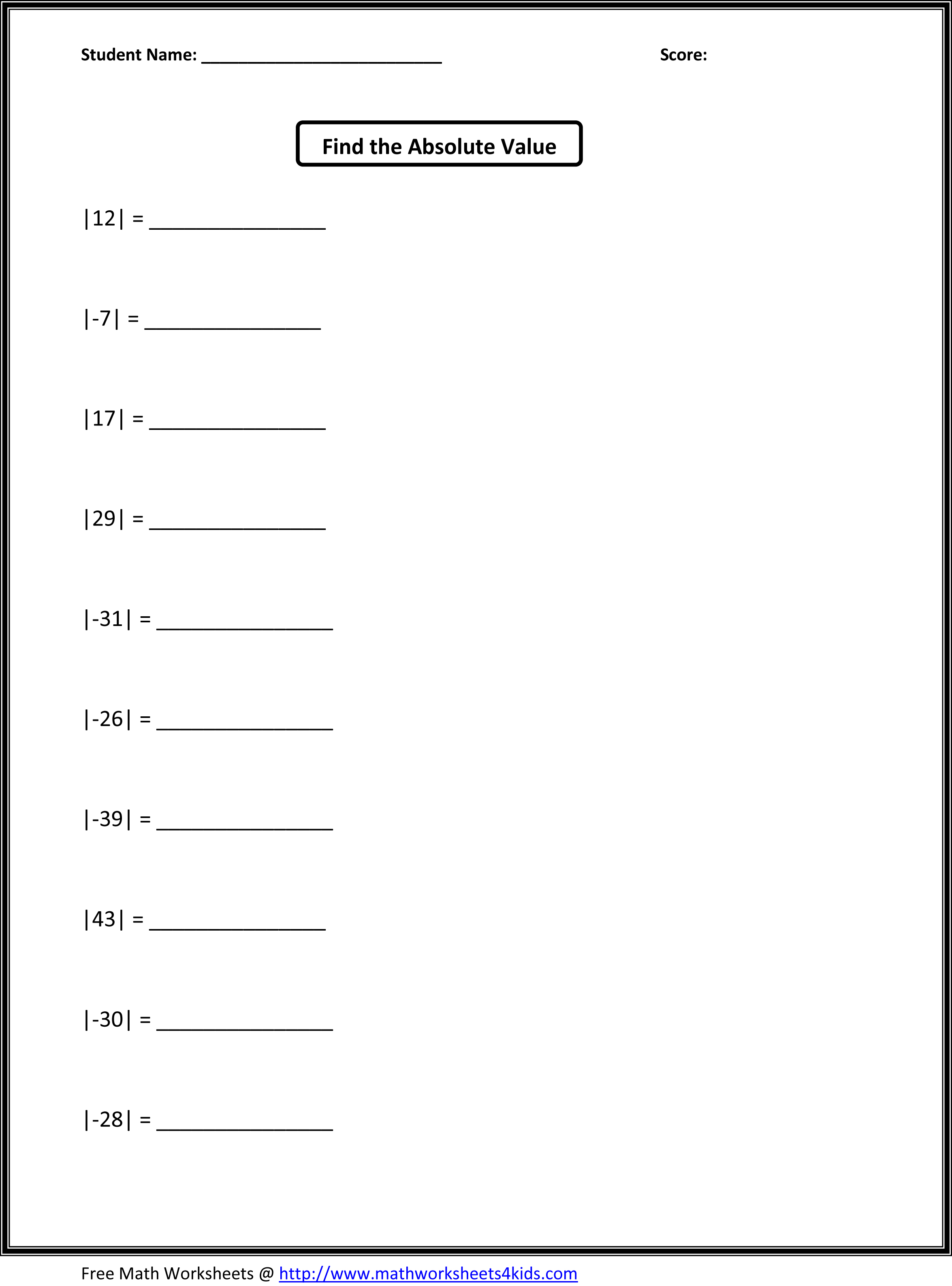 Absolute Value Math Worksheet