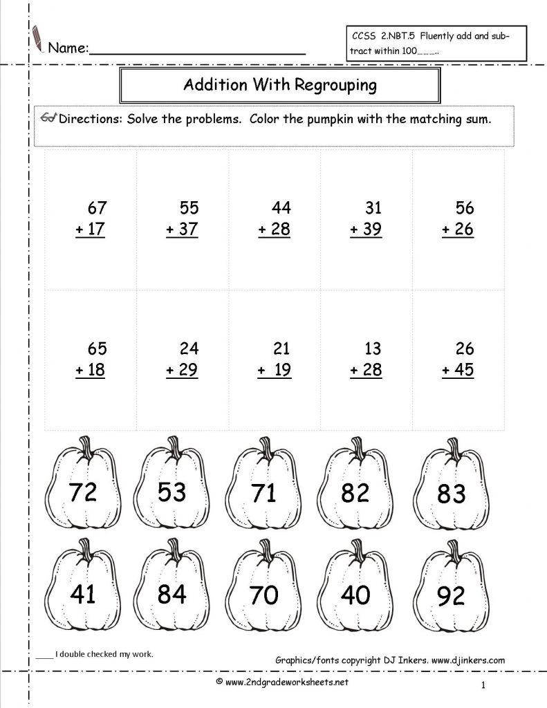 Adding with Regrouping Second Grade Math Practice