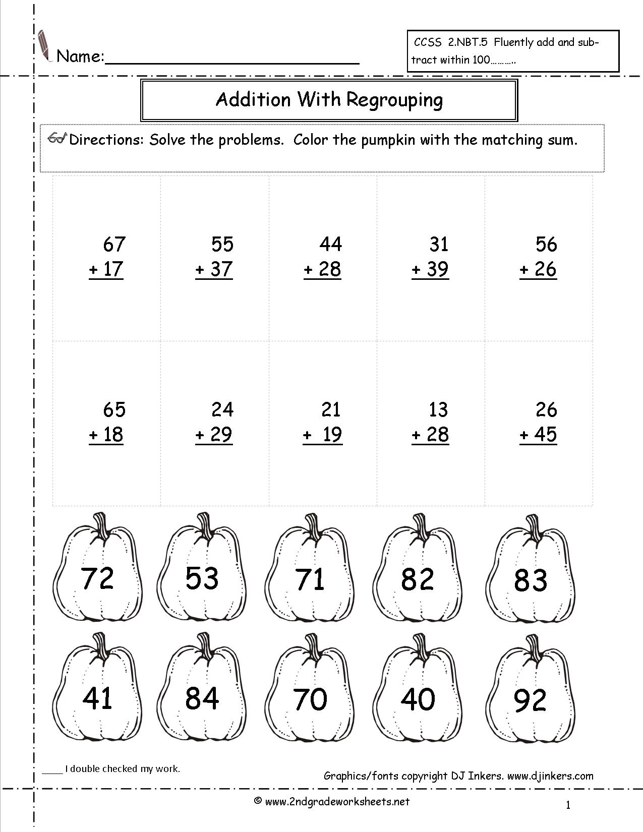 Adding with Regrouping Second Grade