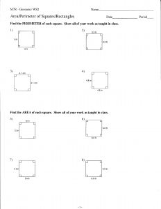 Geometry - Area and Perimeter of Squares and Rectangles