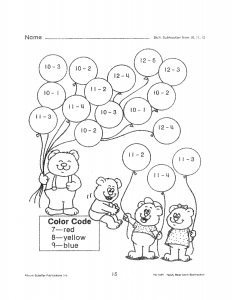 Coloring Math Subtraction Worksheet