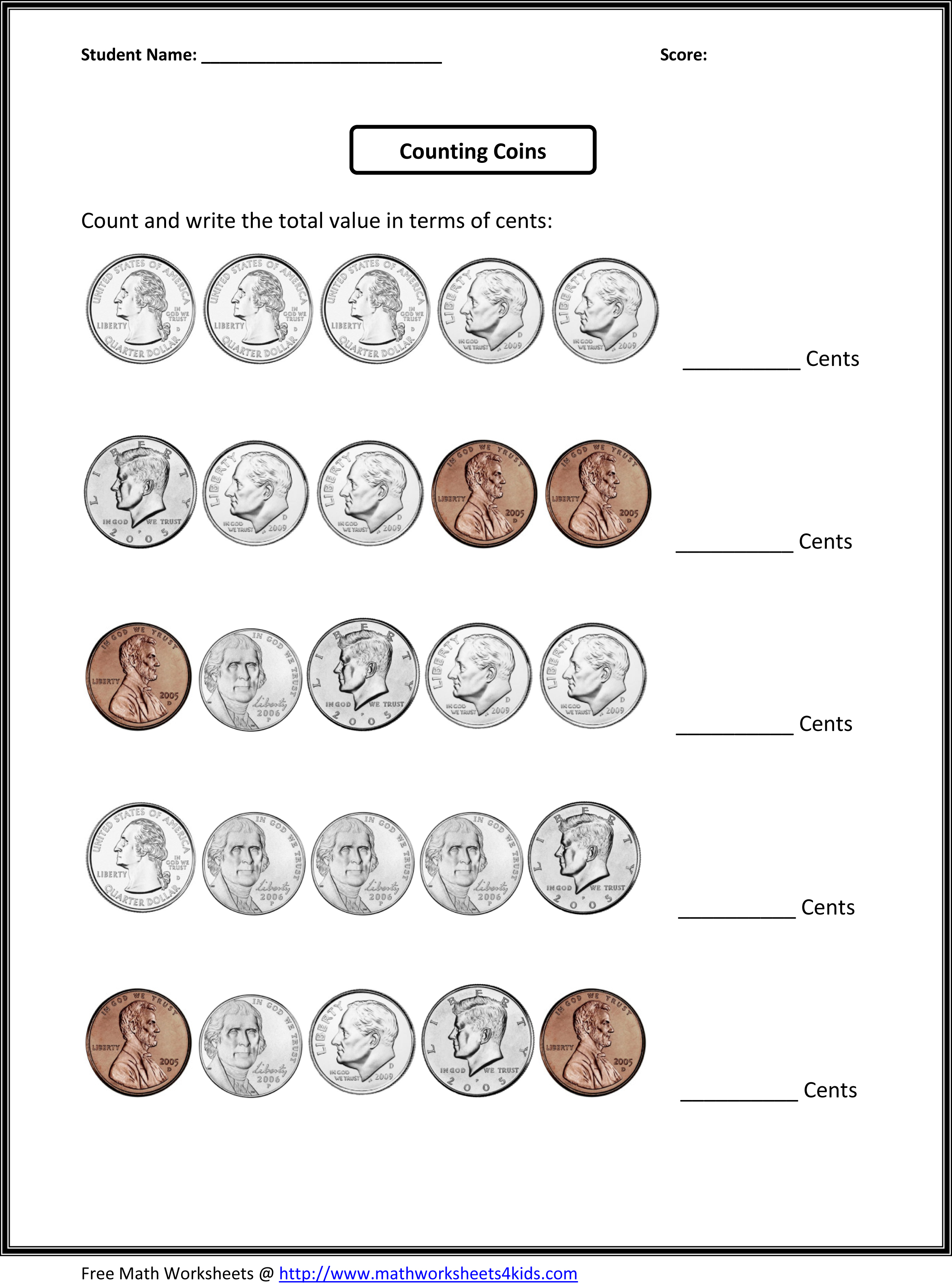 Counting Coins for 3rd grade