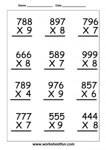 Fifth Grade Multiplication Worksheet