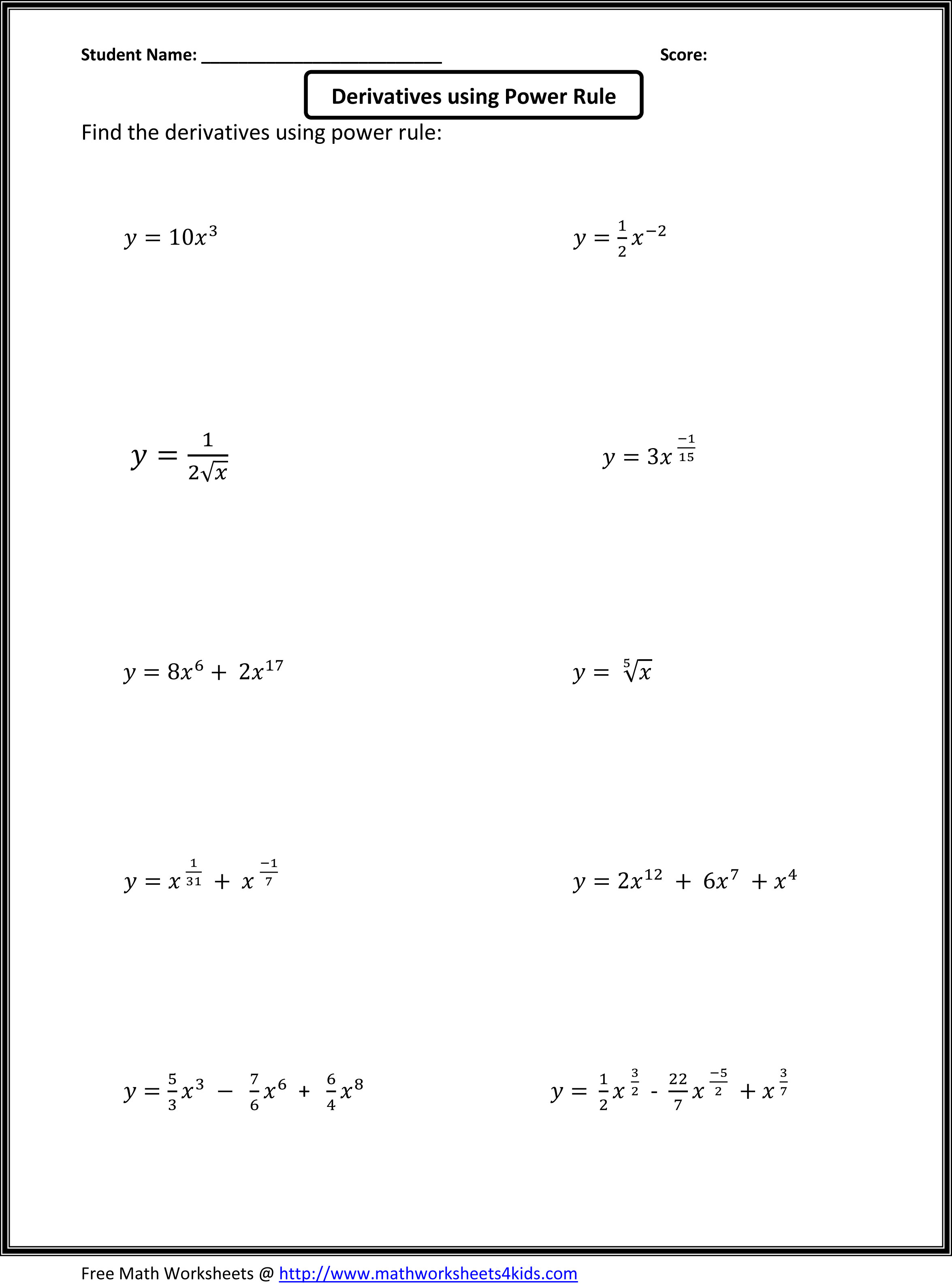 Derivatives Using Power Rule