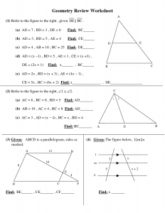 High School Geometry Worksheet - Printable