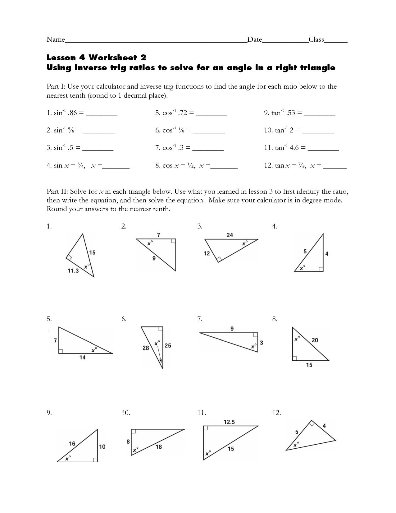 Inverse Trig Ratios Right Triangle Trigonometry Worksheet