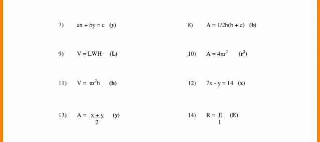 Literal Equations Worksheet For Algebra