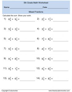 Mixed Fractions Worksheet for 5th Graders
