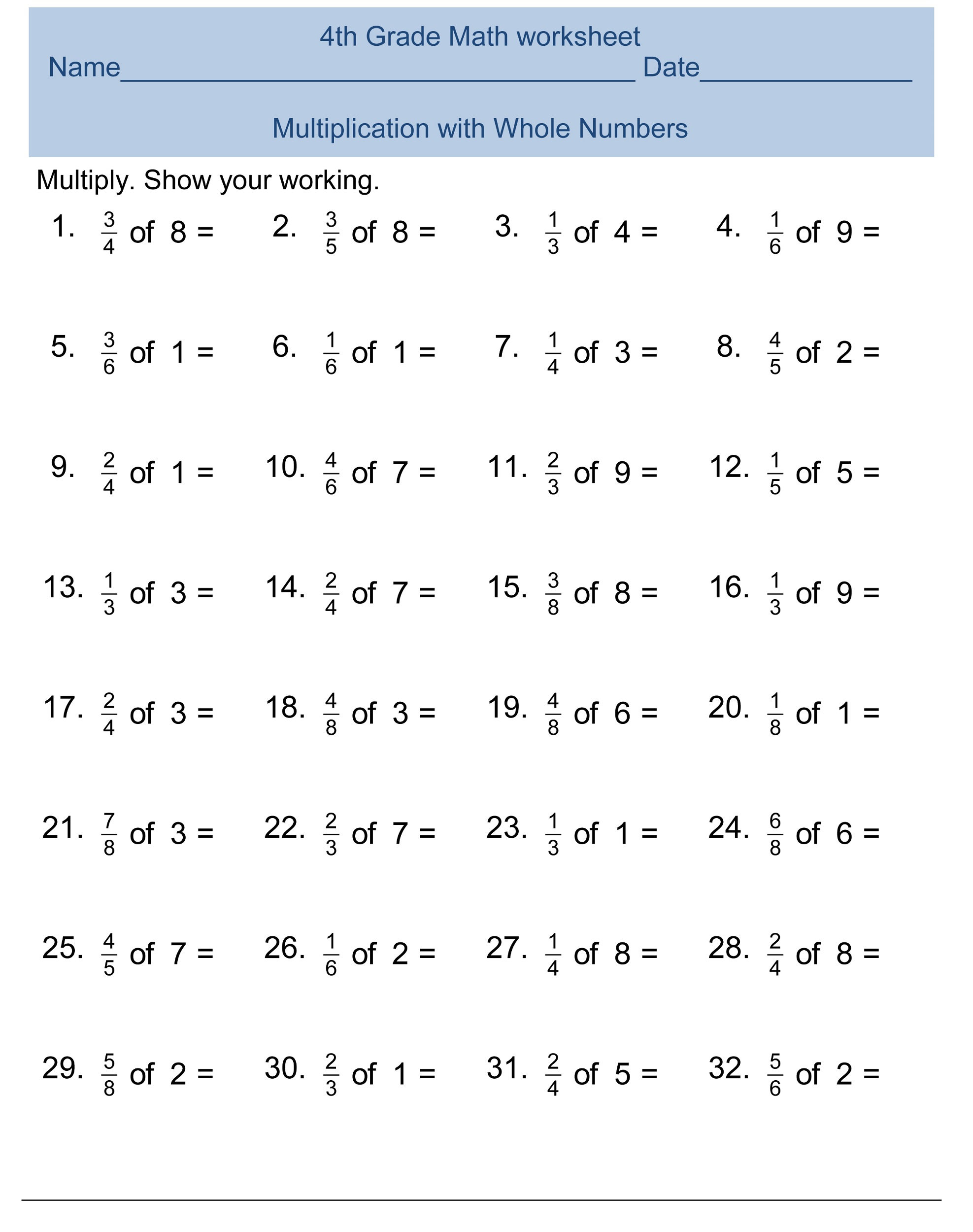 Multiplication of Whole Numbers and Fractions