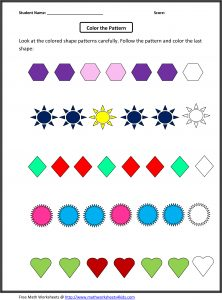 Patterns Worksheet for 2nd Grade