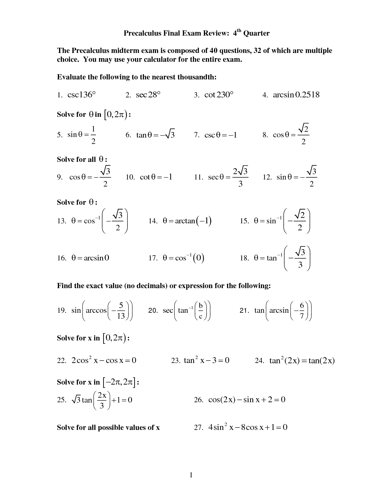 Precalculus Practice Exam Worksheets