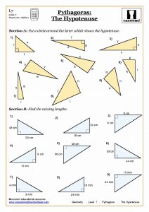 Pythagoras The Hypotenuse - Geometry Worksheet