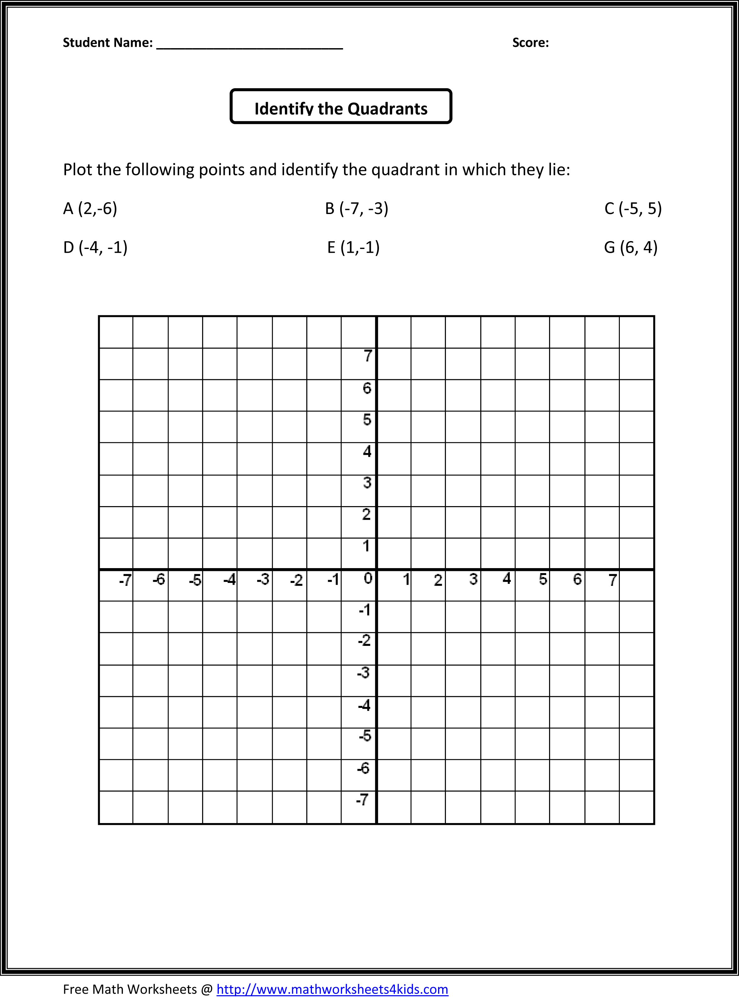 Quadrants Worksheet Practice