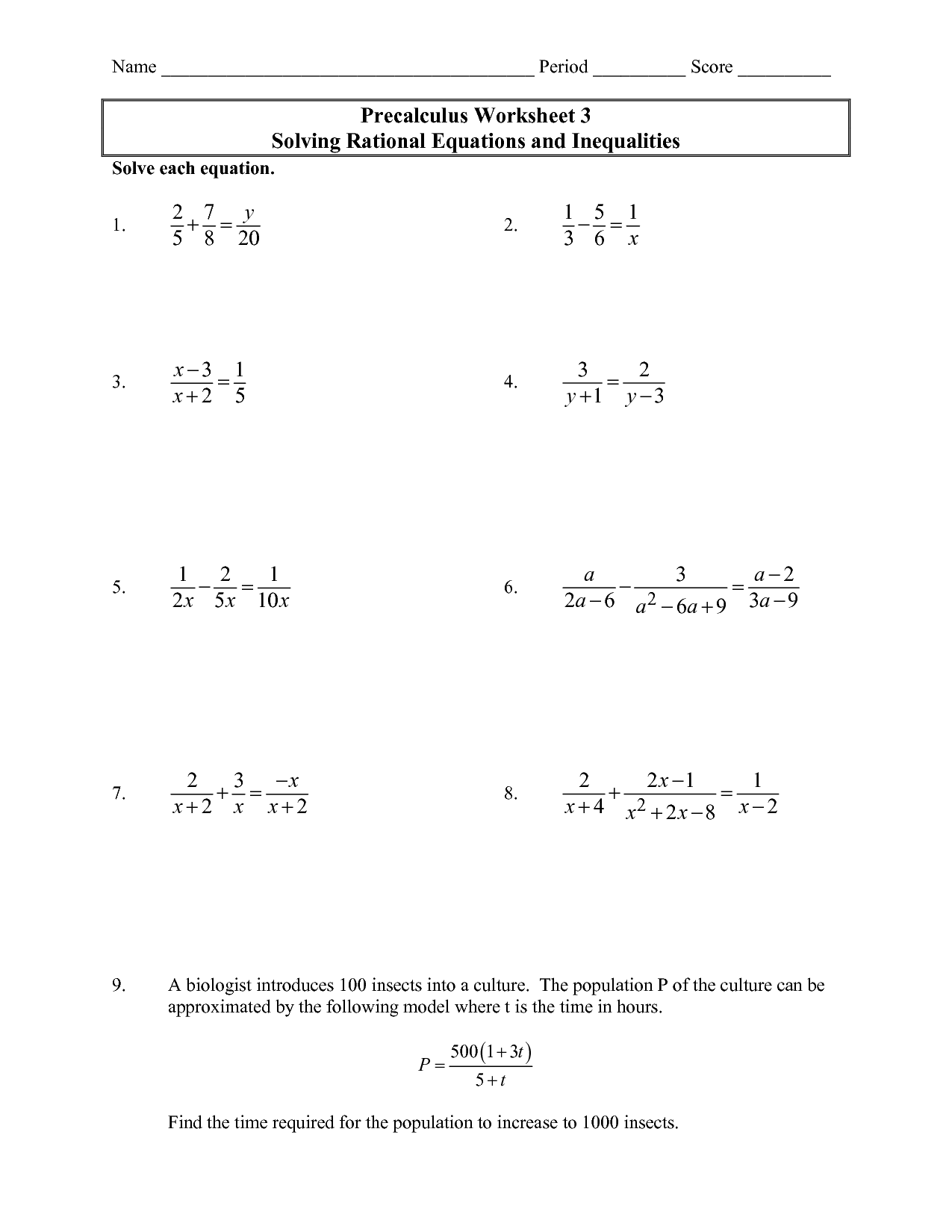 Precalculus Worksheet - Solving Rational Equations and Inequalities