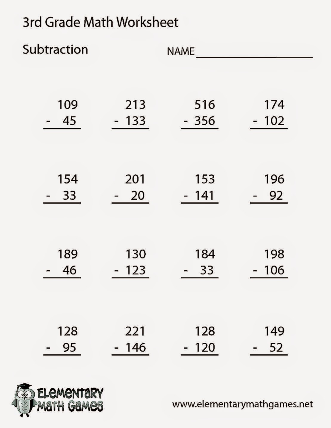 Subtraction Math Worksheet for Third Graders