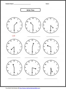 Telling Time Worksheet for 2nd Graders