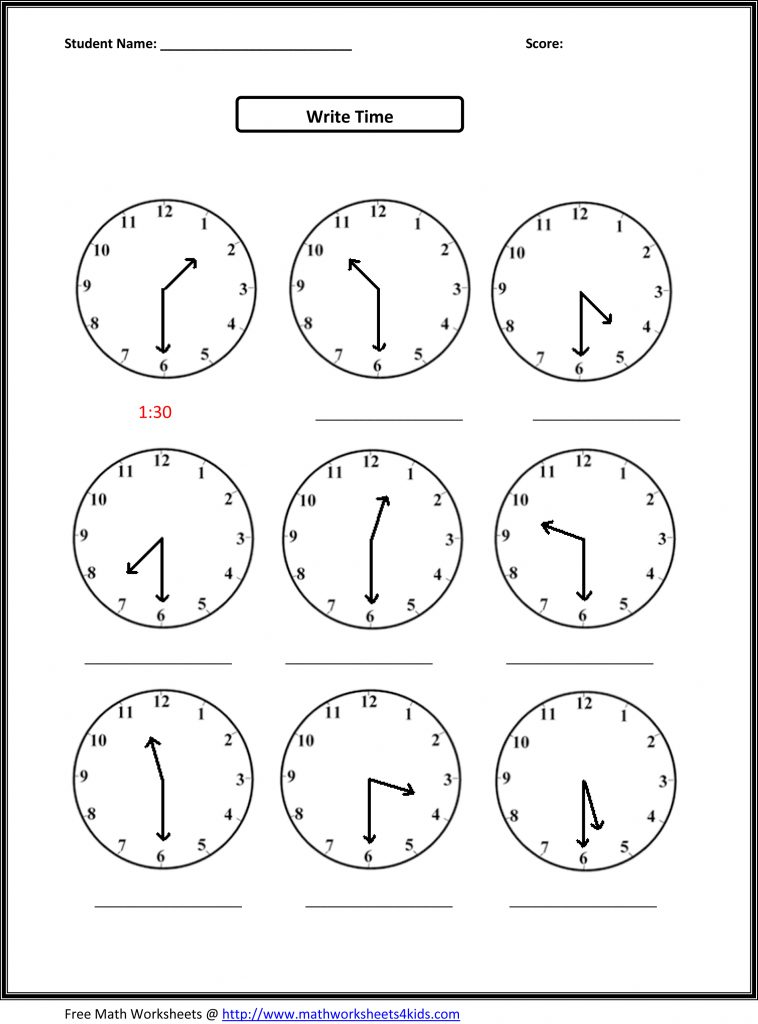 Telling Time Practice Worksheet For 2nd Graders