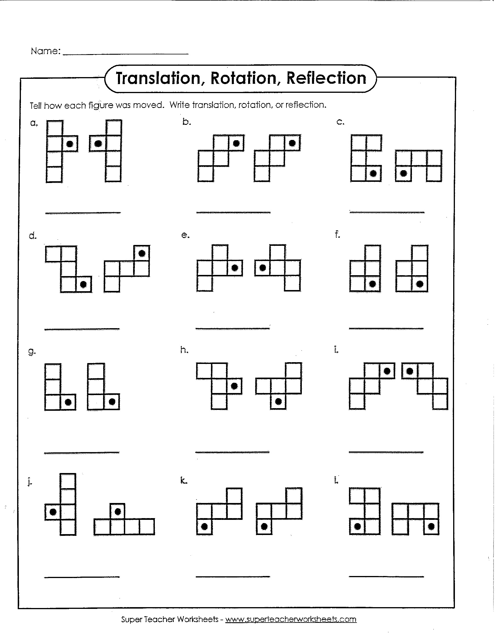 Math - Translation Rotation or Reflection