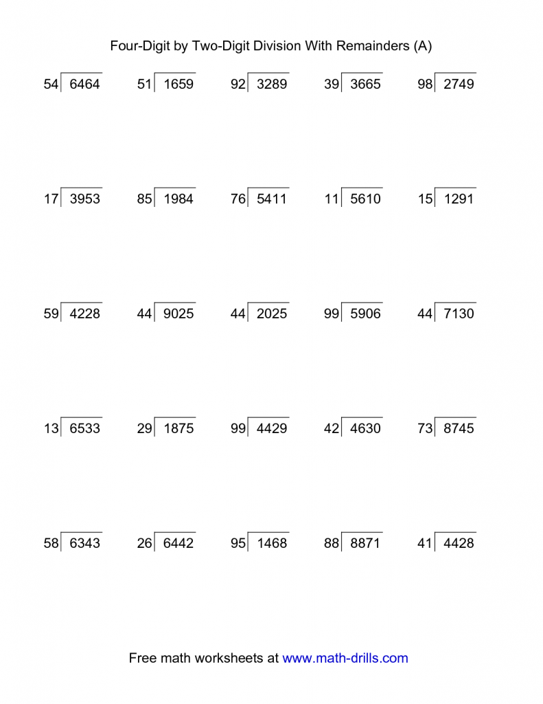 Two and Four Digit Divisions with Remainders Practice
