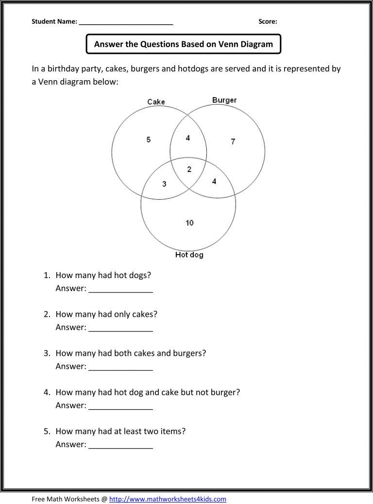 Venn Diagram Practice Worksheet Answers - DIY Enthusiasts Wiring ...