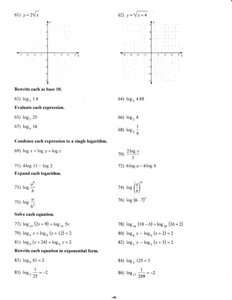 9th grade algebra worksheets pdf